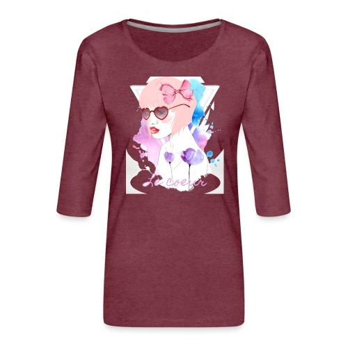 Le coeur - T-shirt Premium manches 3/4 Femme