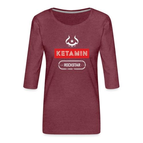 KETAMIN Rock Star - White/Red - Modern - Women's Premium 3/4-Sleeve T-Shirt