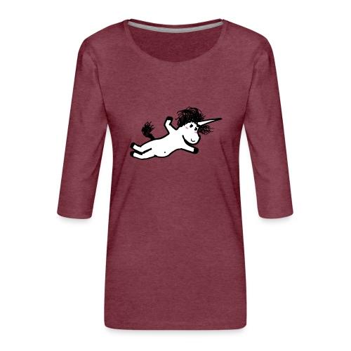 unicorno che si lancia sul nulla - Maglietta da donna premium con manica a 3/4