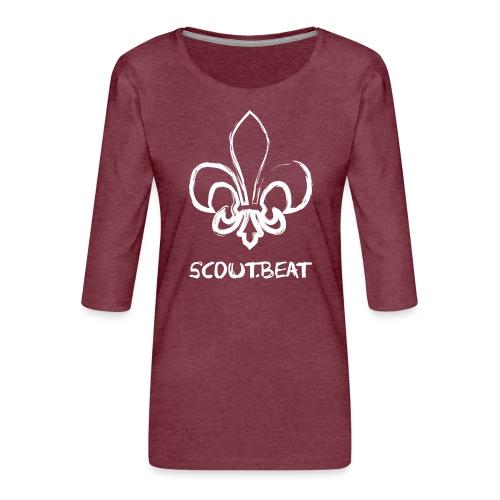 Lilie & SCOUT.beat Schriftzug – Weiß - Frauen Premium 3/4-Arm Shirt