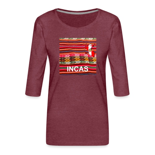 Telar inca Mapa del Peru - T-shirt Premium manches 3/4 Femme