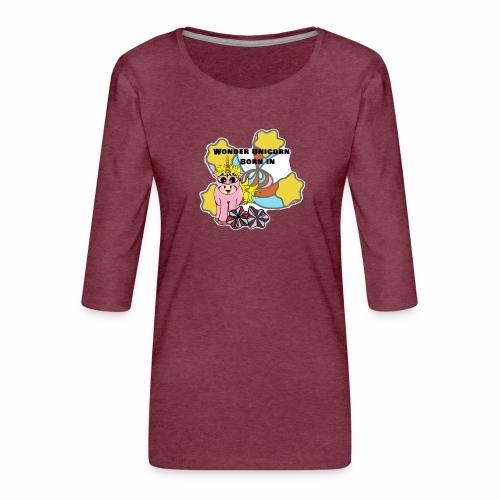 Merveilleuse Licorne née (pour fille) - T-shirt Premium manches 3/4 Femme