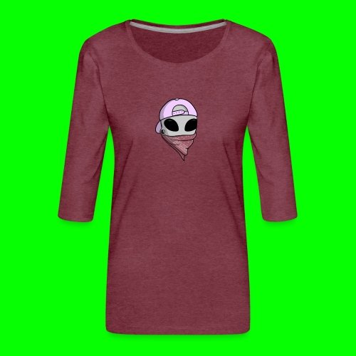 gangsta alien logo - Maglietta da donna premium con manica a 3/4