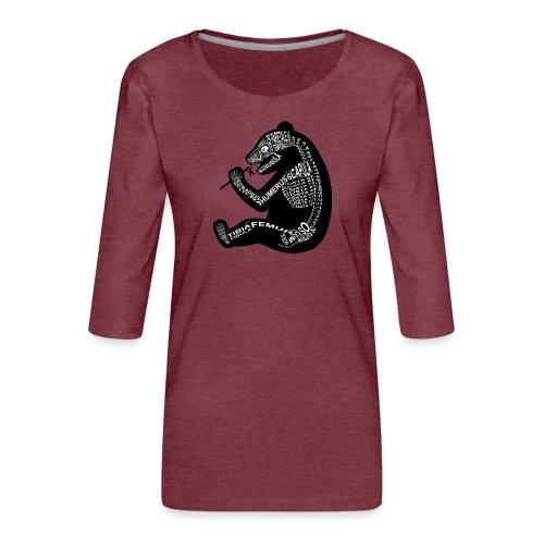 Panda skelet - Vrouwen premium shirt 3/4-mouw