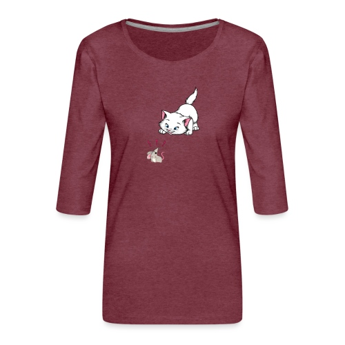 Katze und Maus Achtung Katze - Frauen Premium 3/4-Arm Shirt