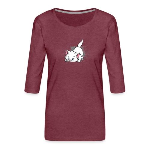 Katze Splash Pfützen Sprung - Frauen Premium 3/4-Arm Shirt