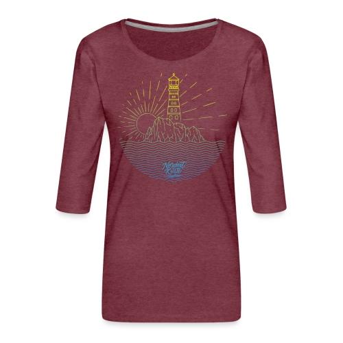 Leuchtturm mit Sonne am Meer - Frauen Premium 3/4-Arm Shirt