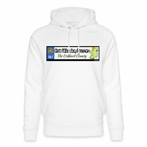 ARMAGH, NORTHERN IRELAND licence plate tags decal - Unisex Organic Hoodie by Stanley & Stella