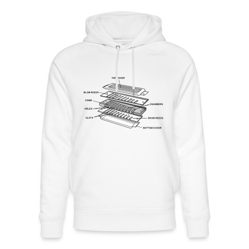 Exploded harmonica - black text - Unisex Organic Hoodie by Stanley & Stella