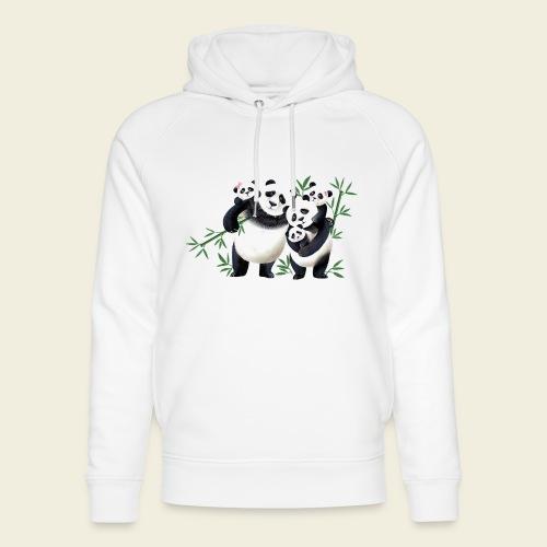 Pandafamilie drei Kinder - Unisex Bio-Hoodie von Stanley & Stella
