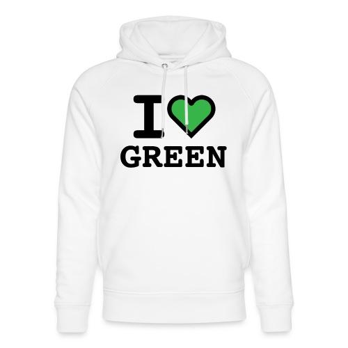 i-love-green-2.png - Felpa con cappuccio ecologica unisex di Stanley & Stella