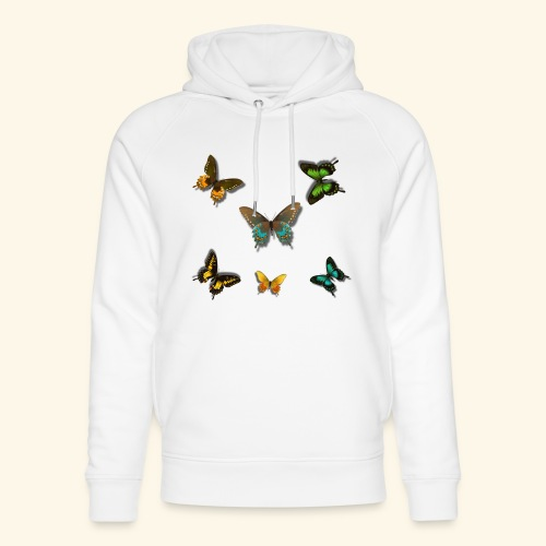 Rain Forest 3D Butterflies of beautiful colour - Unisex Organic Hoodie by Stanley & Stella
