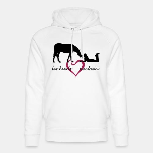 two hearts one dream liegendes Mädchen Pferd - Unisex Bio-Hoodie von Stanley & Stella