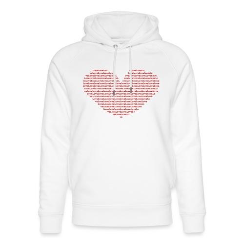 Isle of red Ascii Heart - Unisex Organic Hoodie by Stanley & Stella