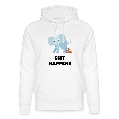 olifant met drol shit happens poep schaamte - Uniseks bio-hoodie van Stanley & Stella