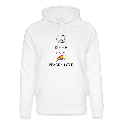 keep calm and Peace & Lov - Felpa con cappuccio ecologica unisex di Stanley & Stella