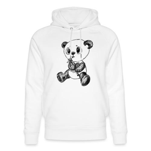 Panda bjørn sort scribblesirii - Stanley & Stella unisex hoodie af økologisk bomuld