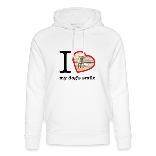 I love my dog's smile :) dog smile - Unisex Organic Hoodie by Stanley & Stella