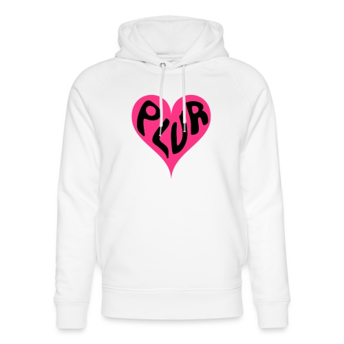 PLUR - Peace Love Unity and Respect love heart - Unisex Organic Hoodie by Stanley & Stella