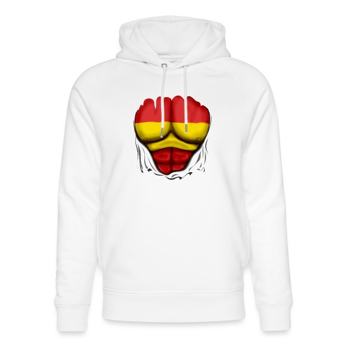 España Flag Ripped Muscles six pack chest t-shirt - Unisex Organic Hoodie by Stanley & Stella