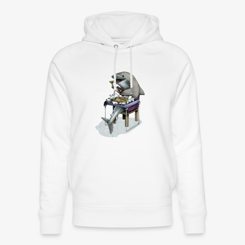 Shark's Fish and Chip dinner - Unisex Organic Hoodie by Stanley & Stella