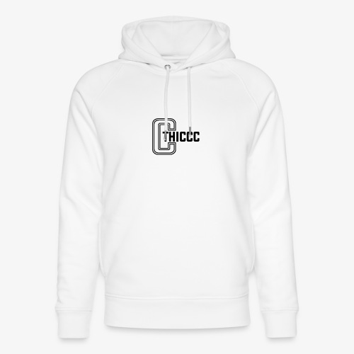 thiccc logo WHITE and BLACK - Unisex Organic Hoodie by Stanley & Stella