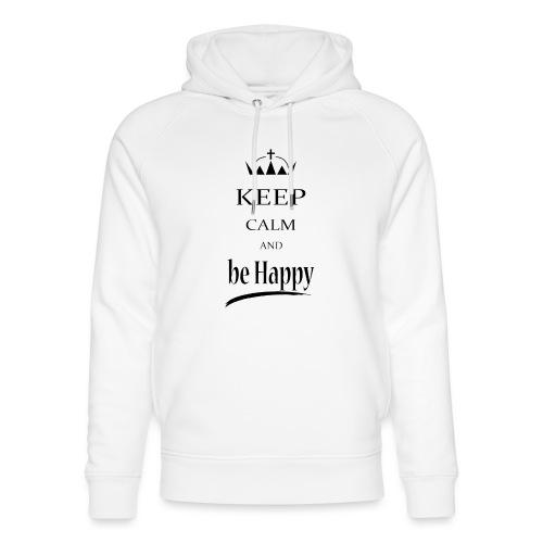 keep_calm and_be_happy-01 - Felpa con cappuccio ecologica unisex di Stanley & Stella