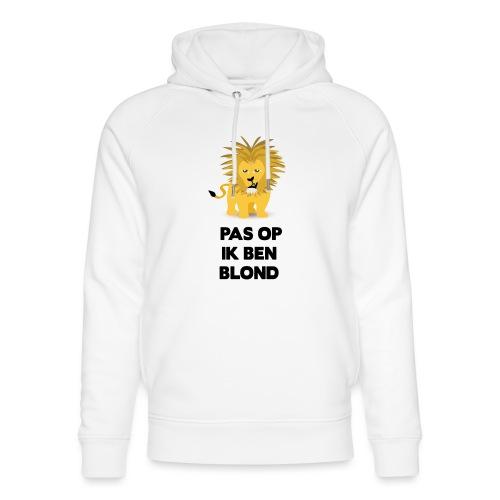 Pas op ik ben blond een cartoon van blonde leeuw - Uniseks bio-hoodie van Stanley & Stella