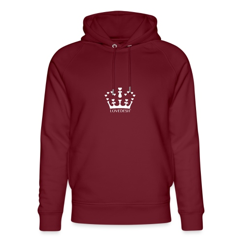 White Lovedesh Crown, Ethical Luxury - With Heart - Unisex Organic Hoodie by Stanley & Stella