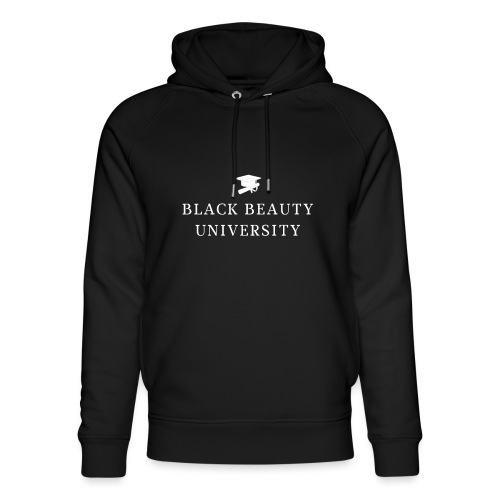 BLACK BEAUTY UNIVERSITY LOGO BLANC - Sweat à capuche bio Stanley & Stella unisexe
