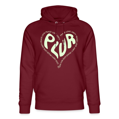 PLUR Peace Love Unity & Respect ravers mantra in a - Unisex Organic Hoodie by Stanley & Stella