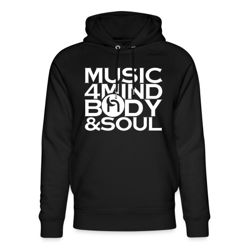 Music 4 Mind, Body & Soul White - Unisex Organic Hoodie by Stanley & Stella