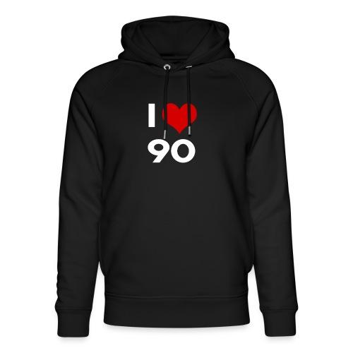 I love 90 - Felpa con cappuccio ecologica unisex di Stanley & Stella