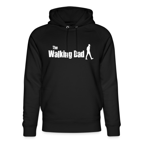 the walking dad white text on black - Unisex Organic Hoodie by Stanley & Stella