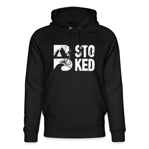 bstoked logo white - Unisex Organic Hoodie by Stanley & Stella