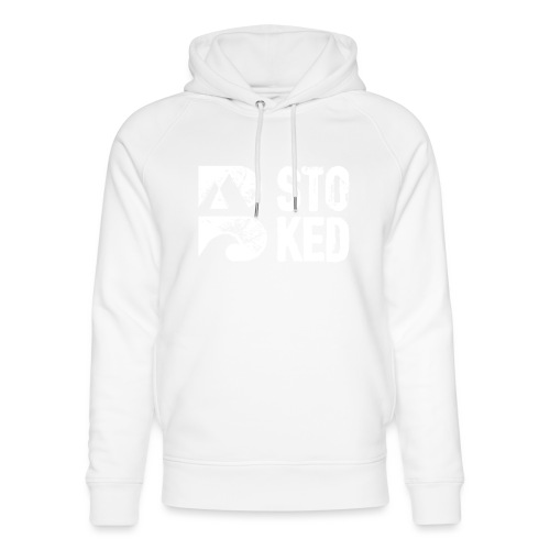 bstoked logo white - Unisex Organic Hoodie by Stanley & Stella