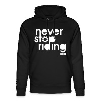 Never Stop Riding - Unisex Organic Hoodie by Stanley & Stella black