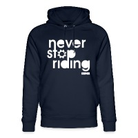 Never Stop Riding - Unisex Organic Hoodie by Stanley & Stella navy
