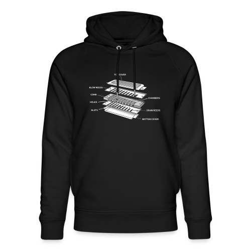 Exploded harmonica - white text - Unisex Organic Hoodie by Stanley & Stella