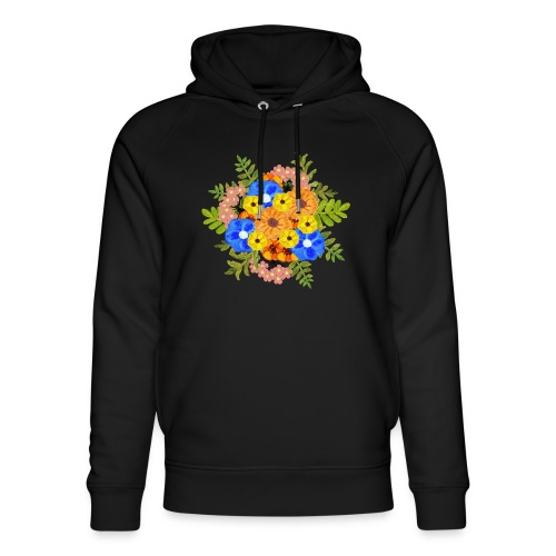 Blue Flower Arragement - Unisex Organic Hoodie by Stanley & Stella
