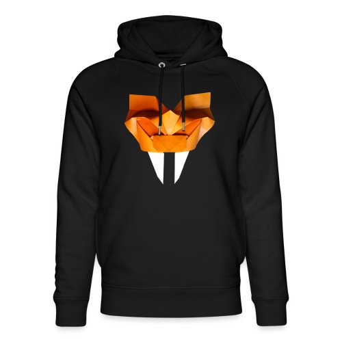 Origami Saber Toothed Tiger Mask - Origami Tiger - Unisex Organic Hoodie by Stanley & Stella