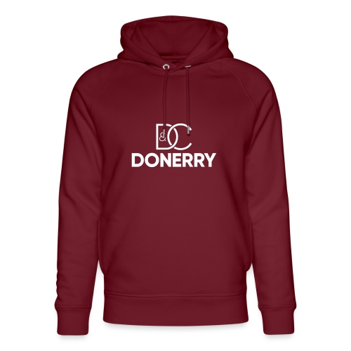 DONERRY New White Logo on Dark - Unisex Organic Hoodie by Stanley & Stella