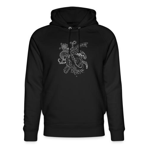 Fantasy hvid scribblesirii - Stanley & Stella unisex hoodie af økologisk bomuld