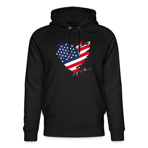 USA Amerika Sterne und Streifen Herz Fahne Flagge - Unisex Bio-Hoodie von Stanley & Stella