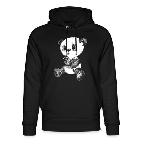 Panda bjørn hvid scribblesirii - Stanley & Stella unisex hoodie af økologisk bomuld
