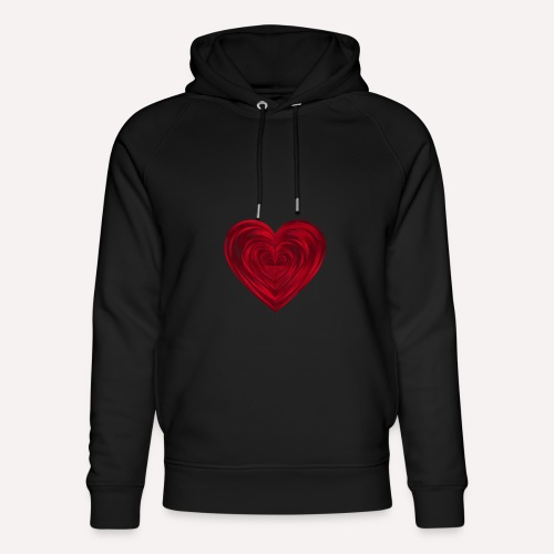 Love Heart Print T-shirt design - Unisex Organic Hoodie by Stanley & Stella