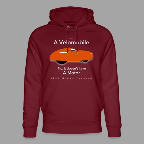 it's a velomobile white text - Stanley & Stellan unisex-luomuhuppari