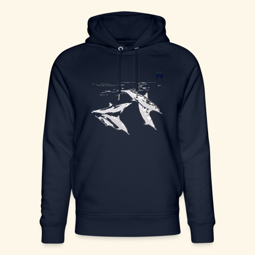 5 Gray dolphins - Unisex Organic Hoodie by Stanley & Stella