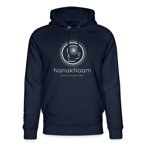 Nanak Naam Logo and Name - White - Unisex Organic Hoodie by Stanley & Stella