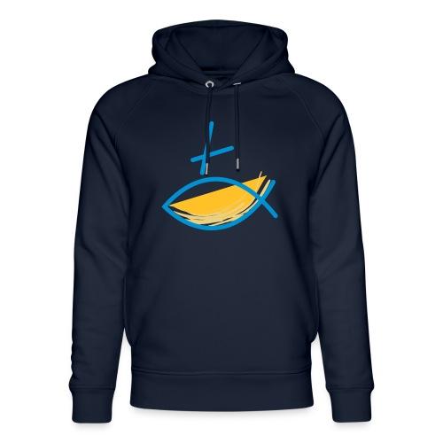 Altkatholischer Logo Fisch Blau/Gelb - Unisex Bio-Hoodie von Stanley & Stella